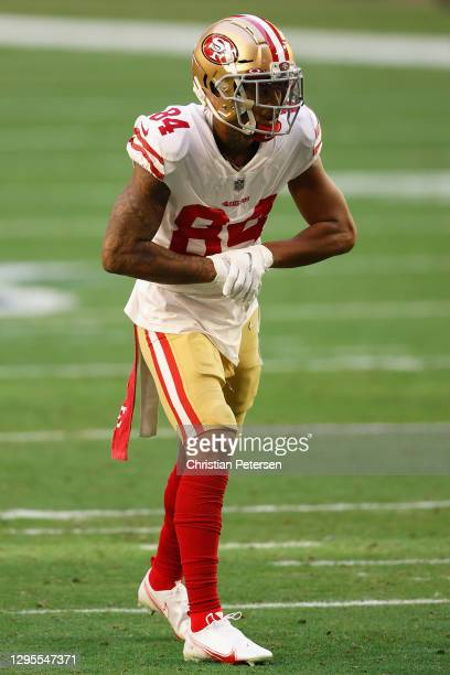 Wide receiver Kendrick Bourne of the San Francisco 49ers lines up against the Seattle Seahawks during the first half of the NFL game at State Farm...