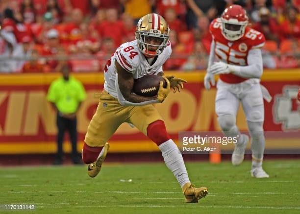 Wide receiver Kendrick Bourne of the San Francisco 49ers runs up field during the first half of a pre-season game against the Kansas City Chiefs at...