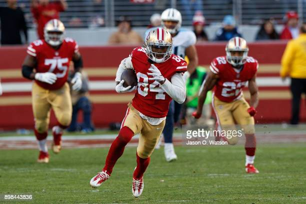 Wide receiver Kendrick Bourne of the San Francisco 49ers runs up field against the Tennessee Titans during the fourth quarter at Levi's Stadium on...