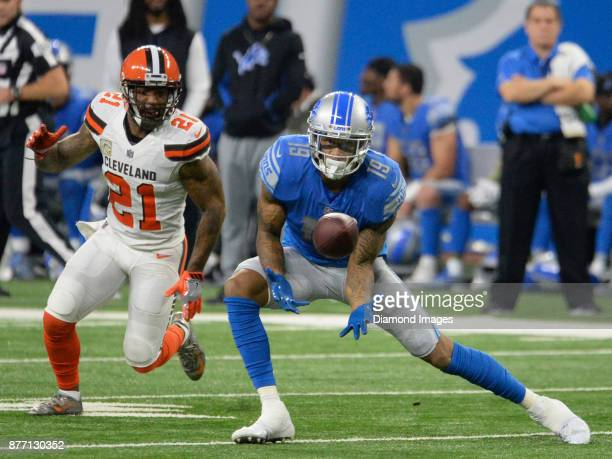 Wide receiver Kenny Golladay of the Detroit Lions catches a pass in the third quarter of a game on November 12 2017 against the Cleveland Browns at...