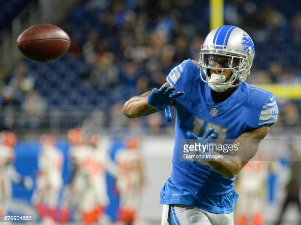 Wide receiver Kenny Golladay of the Detroit Lions catches a pass prior to a game on November 12 2017 against the Cleveland Browns at Ford Field in...
