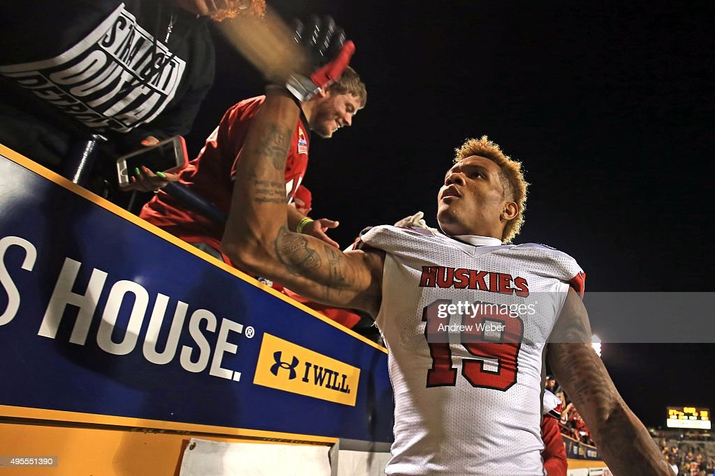 Wide receiver Kenny Golladay #19 of the Northern Illinois Huskies celebrates after defeating the Toledo Rockets 32-27 at Glass Bowl on November 3, 2015 in Toledo, Ohio.