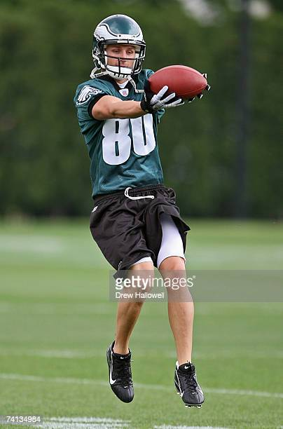 Wide Receiver Kevin Curtis of the Philadelphia Eagles catches a pass during minicamp on May 12 2007 at the NovaCare Complex in Philadelphia...