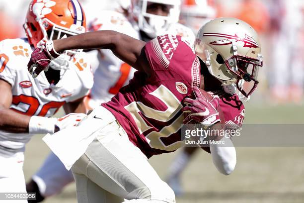 Wide Receiver Keyshawn Helton of the Florida State Seminoles after a catch during the game against the Clemson Tigers at Doak Campbell Stadium on...