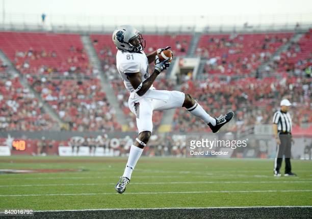 Wide receiver Kyle Anthony of the Howard Bison makes a touchdown reception against the UNLV Rebels during their game at Sam Boyd Stadium on September...