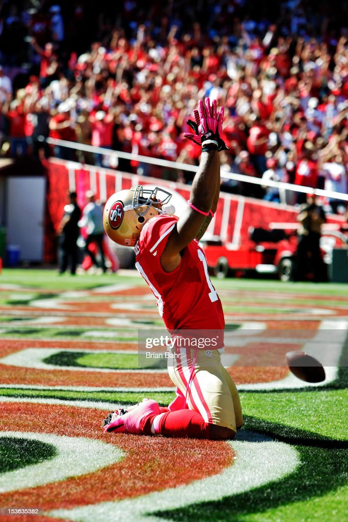 Wide receiver Kyle Williams #10 of the San Francisco 49ers celebrates a touchdown against the Buffalo Bills in the second quarter on October 7, 2012 at Candlestick Park in San Francisco, California. The 49ers won 45-3.