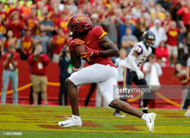 Wide receiver La'Michael Pettway of the Iowa State Cyclones pulls in a touchdown pass in the end zone in overtime against the Northern Iowa Panthers...