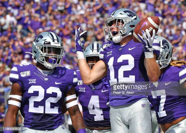 Wide receiver Landry Weber of the Kansas State Wildcats reacts after recovering an onside kick during the first half against the Bowling Green...