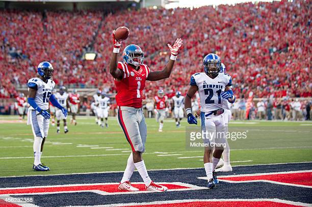 Wide receiver Laquon Treadwell of the Mississippi Rebels celebrates after scoring a touchdown during their game against the Memphis Tigers on...