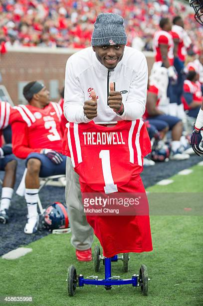 Wide receiver Laquon Treadwell of the Mississippi Rebels during their game against the Presbyterian Blue Hose November 8 2014 at VaughtHemingway...