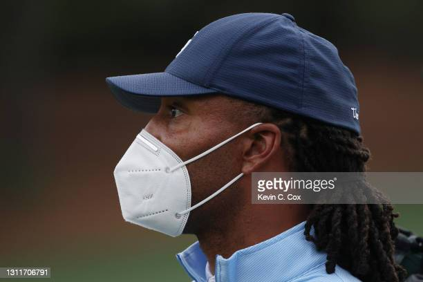Wide receiver Larry Fitzgerald Jr. Looks on during the second round of the Masters at Augusta National Golf Club on April 09, 2021 in Augusta,...