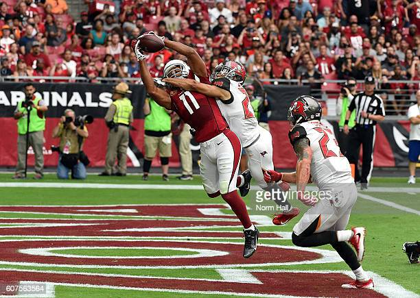 Wide receiver Larry Fitzgerald of the Arizona Cardinals makes a catch for a touchdown over cornerback Brent Grimes of the Tampa Bay Buccaneers during...