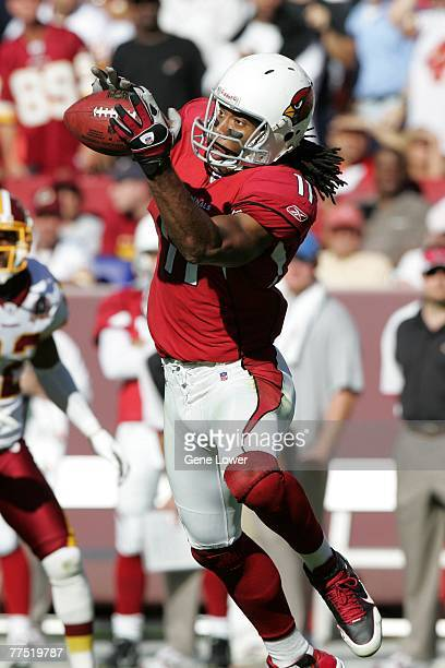 Wide receiver Larry Fitzgerald of the Arizona Cardinals makes a catch during a game against the Washington Redskins on October 21 2007 at FedEx Field...