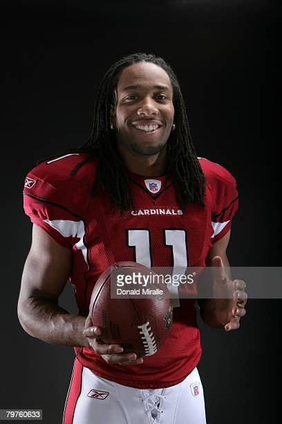 Wide Receiver Larry Fitzgerald of the Arizona Cardinals poses for a portrait at his home on February 1 2008 in Phoenix Arizona