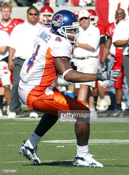 Wide receiver Legedu Naanee of the Boise State Broncos runs against the Utah Utes at Rice-Eccles Stadium on September 30, 2006 during their game in...