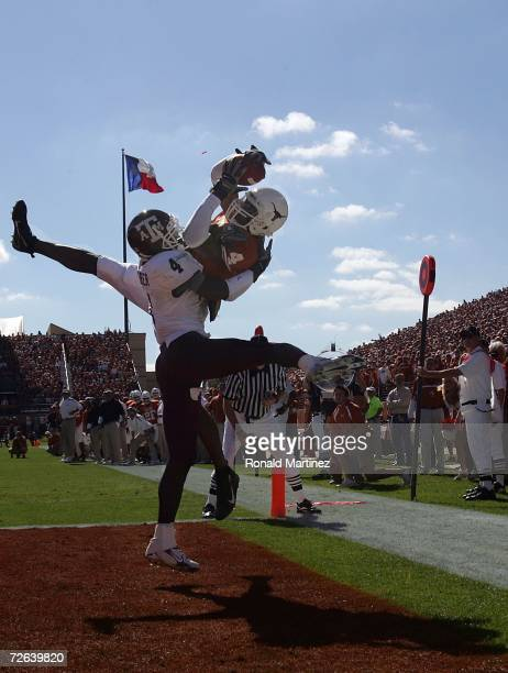 Wide receiver Limas Sweed of the Texas Longhorns is called for a pass interference penalty against Danny Gorrer of the Texas AM Aggies at Darrell K...