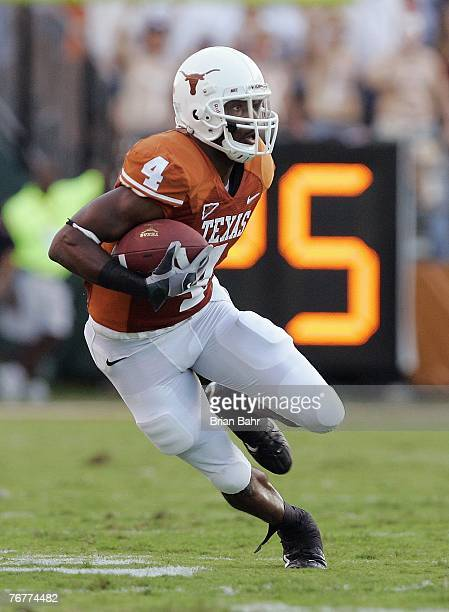 Wide receiver Limas Sweed of the Texas Longhorns runs for yardage during their game against the TCU Horned Frogs on September 8 2007 at Darren K...