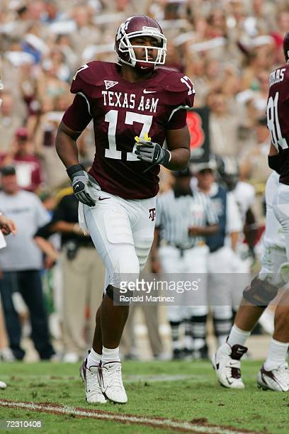 Wide receiver L'Tydrick Riley of the Texas AM Aggies goes in motion against the Missouri Tigers at Kyle Field on October 14 2006 in College Station...