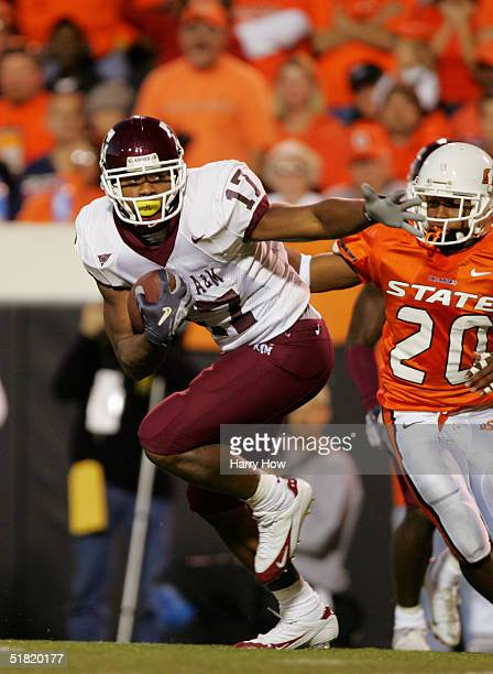 Wide receiver L'Tydrick Riley of the Texas AM Aggies looks to pass during the game against Oklahoma State Cowboys at Boone Pickens Stadium on October...