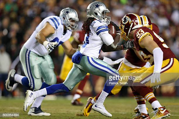 Wide receiver Lucky Whitehead of the Dallas Cowboys carries the ball against outside linebacker Trent Murphy of the Washington Redskins in the first...