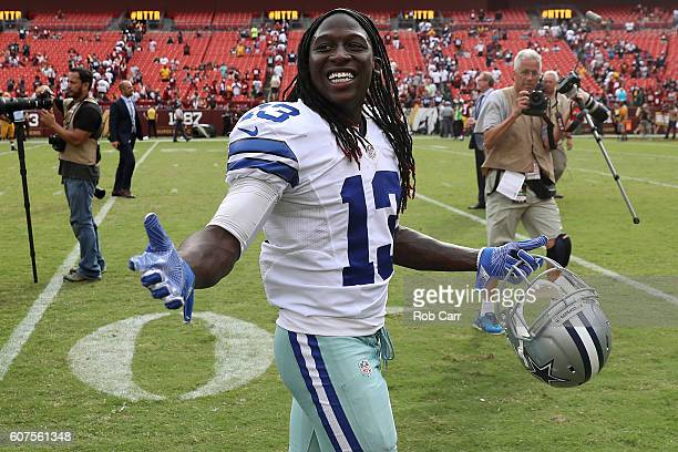 Wide receiver Lucky Whitehead of the Dallas Cowboys celebrates after the Dallas Cowboys defeated the Washington Redskins 2723 at FedExField on...