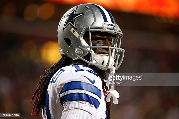 Wide receiver Lucky Whitehead of the Dallas Cowboys looks on against the Washington Redskins in the third quarter at FedExField on December 7 2015 in...