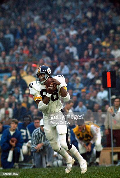 Wide Receiver Lynn Swann of the Pittsburgh Steelers catches a pass against the Baltimore Colts during an NFL football game circa 1975 at Memorial...