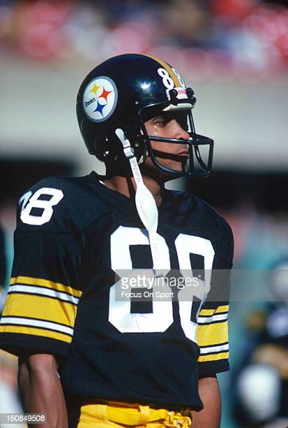 Wide Receiver Lynn Swann of the Pittsburgh Steelers looks on during pregame warm ups before an NFL football game circa 1979 at Three Rivers Stadium...