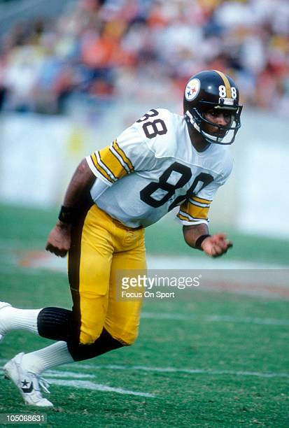Wide Receiver Lynn Swann of the Pittsburgh Steelers runs a pass route during NFL football game circa 1978 Swann played for the Steelers from 197482