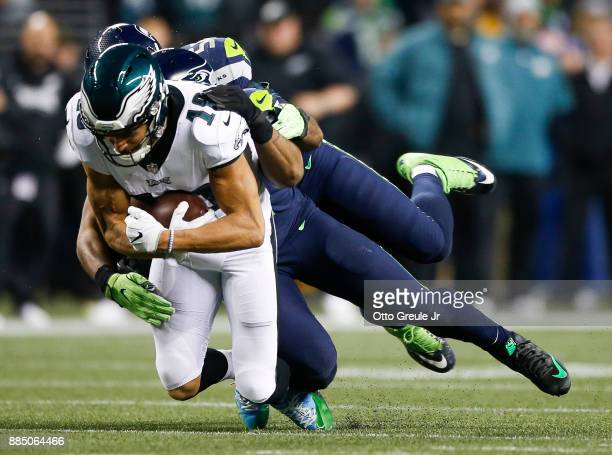 Wide receiver Mack Hollins of the Philadelphia Eagles makes a reception against the Seattle Seahawks in the fourth quarter at CenturyLink Field on...