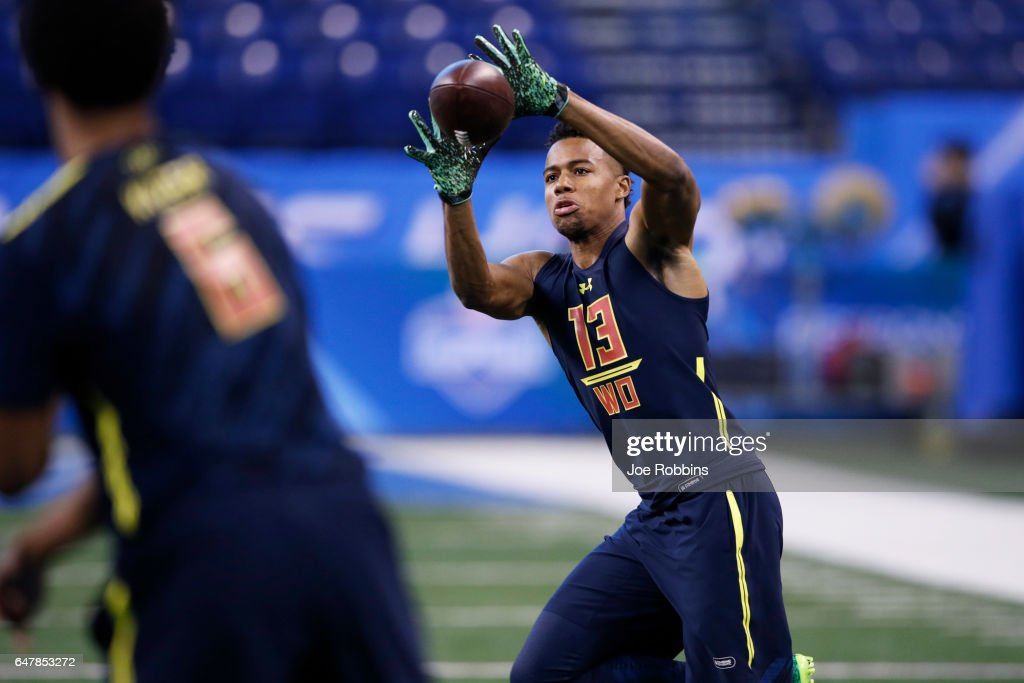 Wide receiver Malachi Dupre of LSU catches a pass during day four of the NFL Combine at Lucas Oil Stadium on March 4, 2017 in Indianapolis, Indiana.