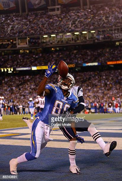 Wide Receiver Malcom Floyd of the San Diego Chargers drops a pass against the New England Patriots during their NFL Game on October 12 2008 at...