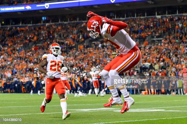 Wide receiver Marcus Kemp of the Kansas City Chiefs reacts after a punt that landed inside the 10 yard line bounced through the end zone for a...