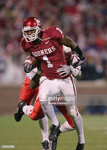 Wide receiver Mark Bradley of the University of Oklahoma Sooners runs upfield against the University of Nebraska Cornhuskers during the game on...