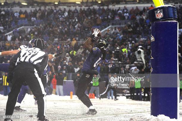 Wide receiver Marlon Brown of the Baltimore Ravens makes the winning catch against the Minnesota Vikings at MT Bank Stadium on December 8 2013 in...