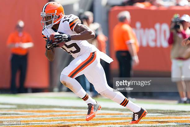 Wide receiver Marlon Moore of the Cleveland Browns caries the gal out of the end zone for a kick off return during the first half against the New...
