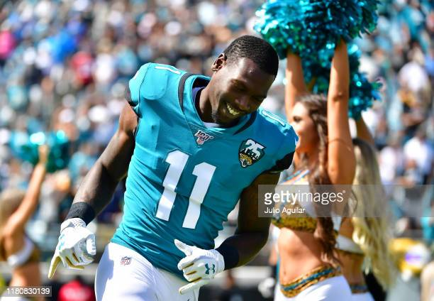 Wide receiver Marqise Lee of the Jacksonville Jaguars runs on to the field during team introductions before the game against the New Orleans Saints...