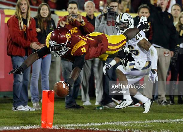 Wide receiver Marqise Lee of the USC Trojans dives for the end zone but is unable to score against the UCLA Bruins in the third quarter at Los...