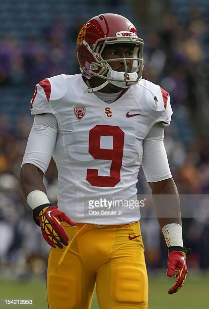 Wide receiver Marqise Lee of the USC Trojans looks on prior to the game against the Washington Huskies on October 13, 2012 at CenturyLink Field in...