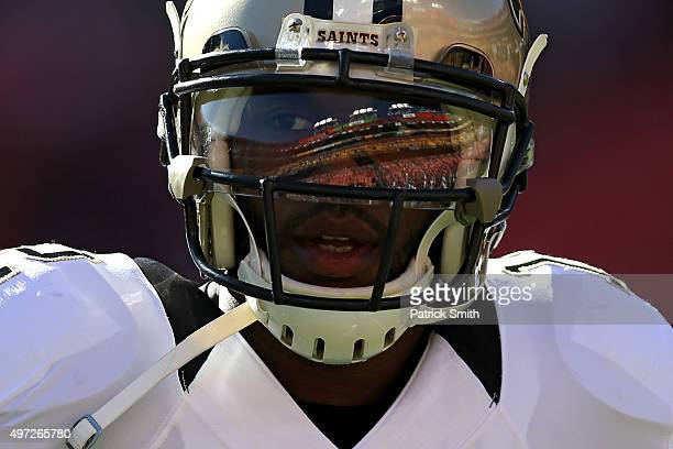Wide receiver Marques Colston of the New Orleans Saints looks on before playing the Washington Redskins at FedExField on November 15 2015 in Landover...