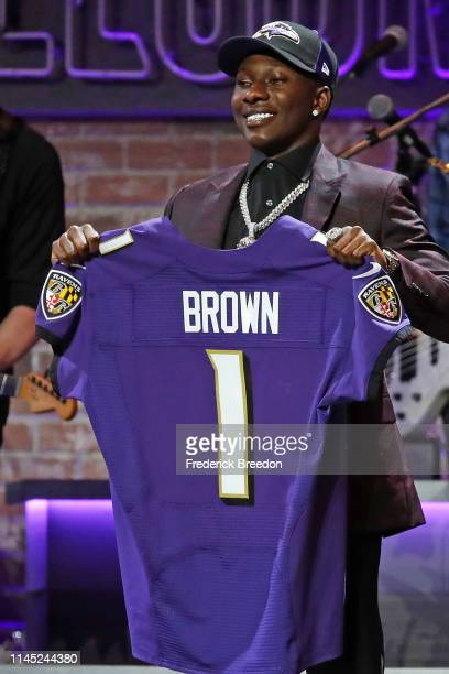 Wide receiver Marquise Brown is selected by Baltimore Ravens with pick 25 on day 1 of the 2019 NFL Draft on April 25, 2019 in Nashville, Tennessee.