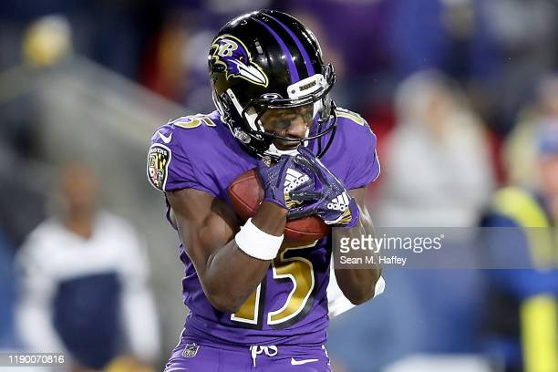 Wide receiver Marquise Brown of the Baltimore Ravens catches second touchdown in the first quarter of the game against the Los Angeles Rams at Los...