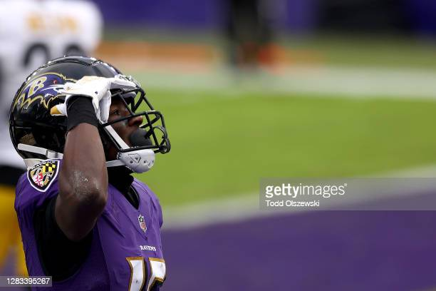 Wide receiver Marquise Brown of the Baltimore Ravens celebrates after catching a fourth quarter touchdown pass against the Pittsburgh Steelers at M&T...