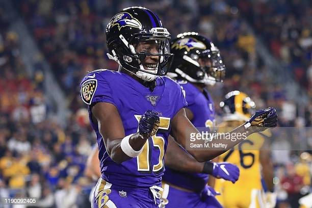 Wide receiver Marquise Brown of the Baltimore Ravens celebrates his first touchdown in the first quarter of the game against the Los Angeles Rams at...