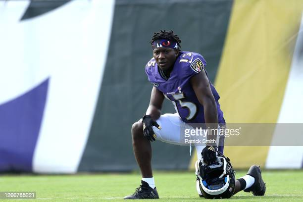 Wide receiver Marquise Brown of the Baltimore Ravens looks on during the Baltimore Ravens Training Camp at Under Armour Performance Center Baltimore...