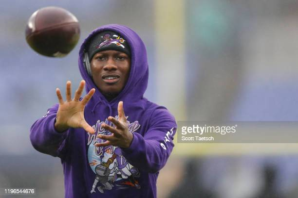 Wide receiver Marquise Brown of the Baltimore Ravens looks on looks on before playing against the Pittsburgh Steelers at M&T Bank Stadium on December...