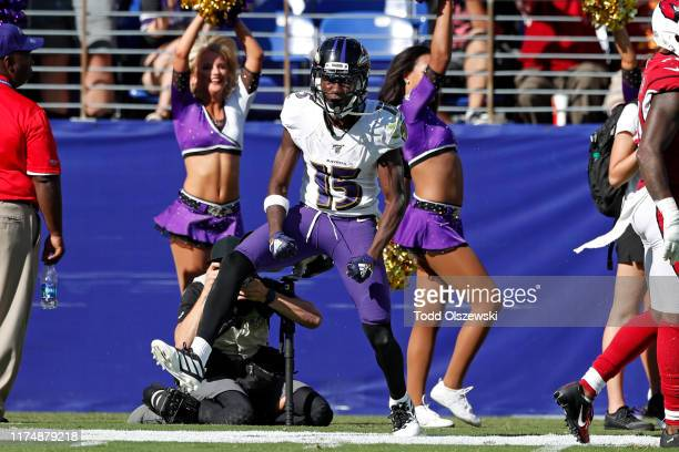 Wide Receiver Marquise Brown of the Baltimore Ravens reacts after a play against the Arizona Cardinals during the second half at MT Bank Stadium on...
