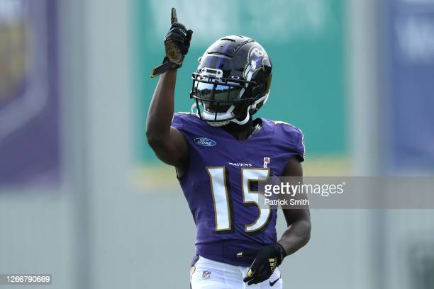 Wide receiver Marquise Brown of the Baltimore Ravens reacts during the Baltimore Ravens Training Camp at Under Armour Performance Center Baltimore...