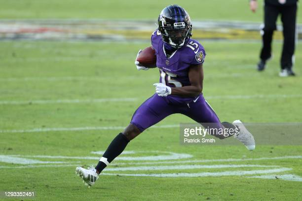 Wide receiver Marquise Brown of the Baltimore Ravens runs against the New York Giants during the second half at M&T Bank Stadium on December 27, 2020...