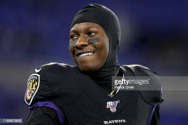 Wide receiver Marquise Brown of the Baltimore Ravens warms up before the game against the New York Jets at M&T Bank Stadium on December 12, 2019 in...